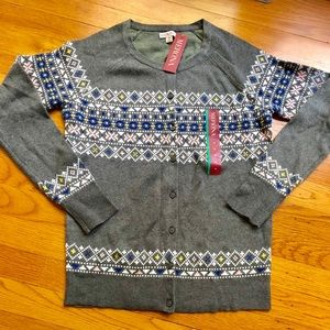 NWT Merona fair isle cardigan sweater